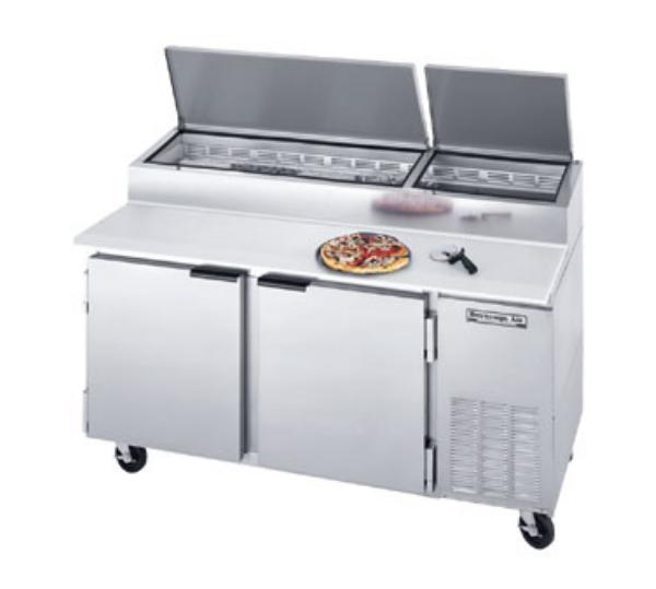 Beverage Air DP67 67 in Pizza Top Refrigerated Counter, 2 Section, 19 in Cutting Board