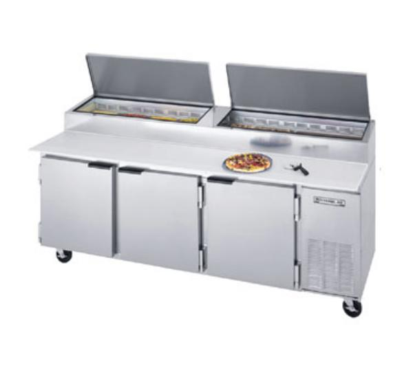 Beverage Air DP93 93 in Pizza Top Refrigerated Counter, 3 Section, 19 in Cutting Board