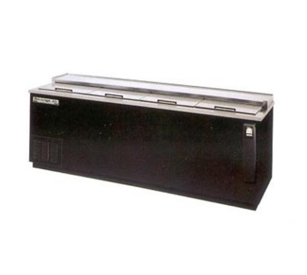 Beverage Air DW94-B 95 Inch Bottle Cooler, Flat Top W/4 Sliding Doors, Deep Well, Black