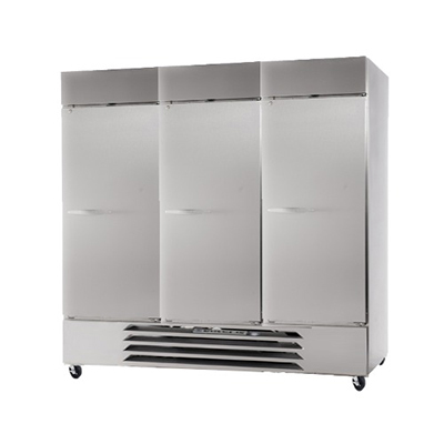 "Beverage Air HBF72-1-S 75"" Three Section Reach-In Freezer, (3) Solid Doors, 115v"