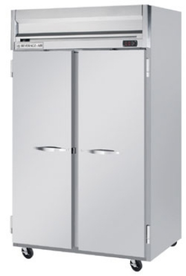 Beverage Air HF21S Reach In Freezer w/ 2-Sections & 2-Solid Doors, 49-cu ft, Gray