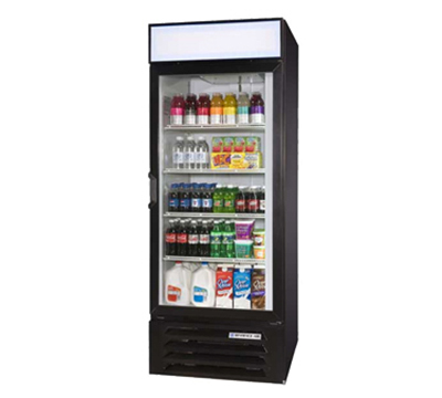 Beverage Air LV271B 1-Section Glass Door Merchandiser w/ Swing Door, Black, 27-cu ft