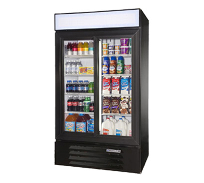 Beverage Air LV381B 2-Section Glass Door Merchandiser, Sliding Doors, Black, 38-cu ft