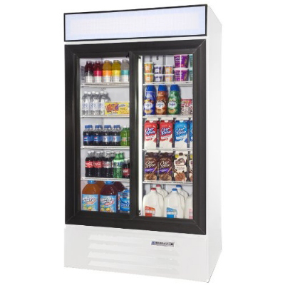 Beverage Air LV38-1-W Refrigerated Display Merchandiser w/ 2-Sliding Doors, White, 38-cu ft