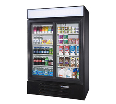 Beverage Air LV451B Glass Door Merchandiser w/ Sliding Doors, Black, 47-cu ft