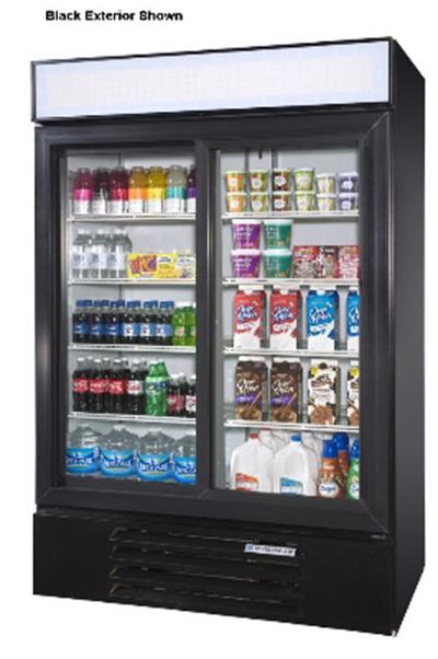 Beverage Air LV451W Reach-In Refrigerated Merchandiser w/ 2-Sliding Glass Doors, 47-cu ft, White