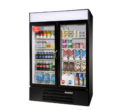 Beverage Air LV491B 2-Section Glass Door Merchandiser, Swing Doors, Black, 49-cu ft