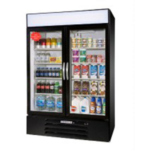 "Beverage Air MMF44-1-B-LED 47"" Two-Section Refrigerated Display w/ Swing Doors, Bottom Mount Compressor, 115v"