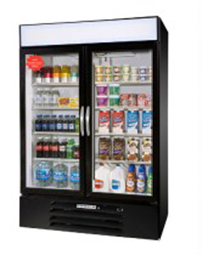 Beverage Air MMR44-1-B-LED Refrigerated Merchandiser w/ 2-Double Pane Glass Doors & LED Lighting, Black, 45-cu ft