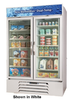 Beverage Air MMRF49-1-B Dual Temp Merchandiser w/ 2-Glass Self-Closing Doors, Digital, 49-cu ft, Black