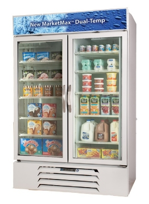 Beverage Air MMRF49-1-W Dual Temp Merchandiser w/ 2-Glass Self-Closing Doors, Digital, 49-cu ft, White