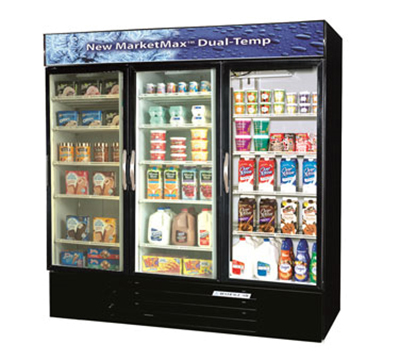 "Beverage Air MMRF72-1-B 75"" Three-Section Refrigerated Display w/ Swing Doors, Bottom Mount Compressor, 115v"