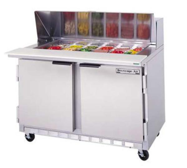 Beverage Air SPE48-10C 48-in Sandwich Top Refrigerated Counter w/ 10-Pan & Cutting Bo