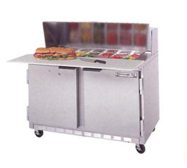 Beverage Air SPE48-12C 48-in Sandwich Top Refrigerated Counter w/ 12-Pan & Cutting Board