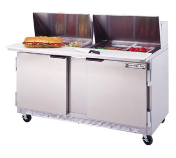 Beverage Air SPE60-10C 60-in Sandwich Top Refrigerated Counter w/ 10-Pan & Cutting Board