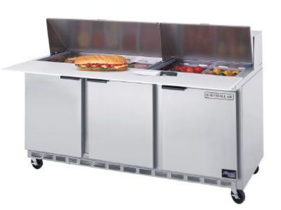Beverage Air SPE72-18C 72-in Sandwich Top Refrigerated Counter w/ 18-Pan & Cutting Board
