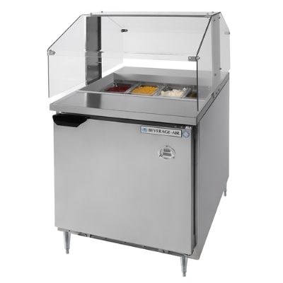 Beverage Air SPE27SNZ 27-in Refrigerated Sandwich Top w/ Sneezeguard & 1-Section, 7.3-cu ft