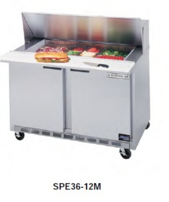 Beverage Air SPE36-15M Refrigerated Food Preparation Table Cabinet, 10.2-cu ft, (15) 1/6-Size