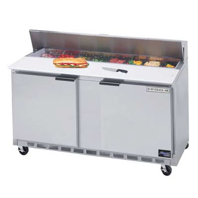 Beverage Air SPE60-12 60-in Sandwich Top Refrigerated Counter w/ 12-Pan Openings