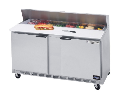 Beverage Air SPE60-16-27 60-in Dual Side Sandwich Top Prep Table, 16-Pan, 2-Door, Stainless Exterior