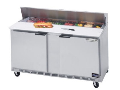 "Beverage Air SPE60-16 60"" Sandwich Top Refrigerated Counter w/ 16-Pan Openings"