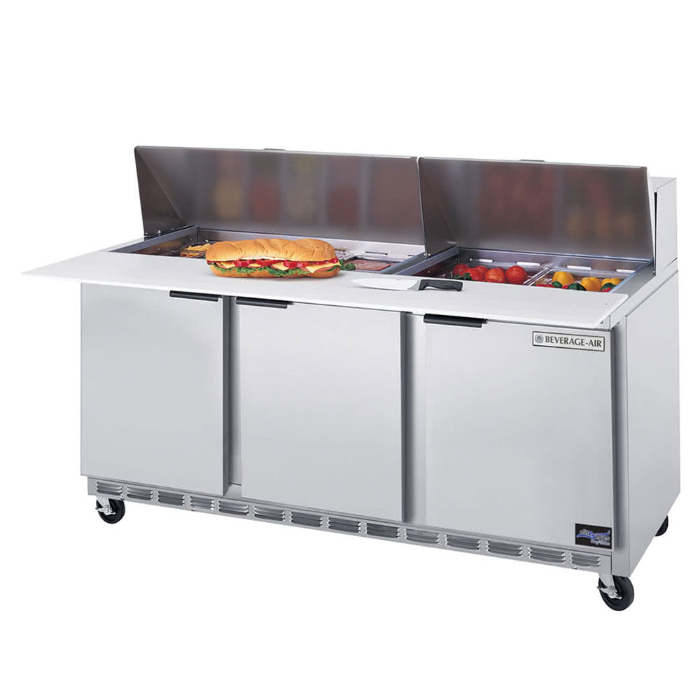 Beverage Air SPE72-08 72-in Sandwich Top Refrigerated Counter w/ 8-Pan Openings