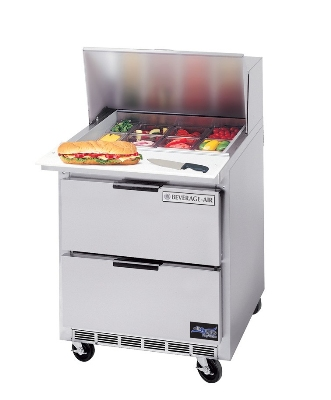 Beverage Air SPED27-B 27-in Dual Side Sandwich Top Prep Table, 8-Pan, 2-Drawers, Stainless Exterior