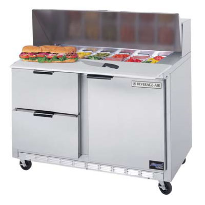 "Beverage Air SPED48-18M-2 48"" Sandwich/Salad Prep Table w/ Refrigerated Base, 115v"
