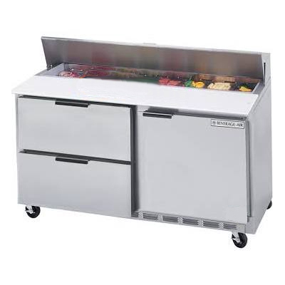"""Beverage Air SPED60-16-4 60"""" Sandwich/Salad Prep Table w/ Refrigerated Base, 115v"""