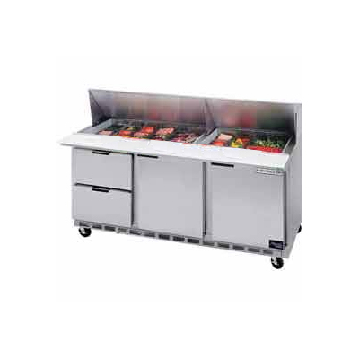 """Beverage Air SPED72-12-2 72"""" Sandwich/Salad Prep Table w/ Refrigerated Base, 115v"""
