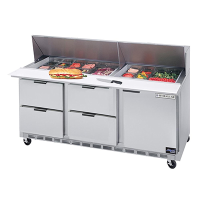 """Beverage Air SPED72-30M-4 72"""" Sandwich/Salad Prep Table w/ Refrigerated Base, 115v"""