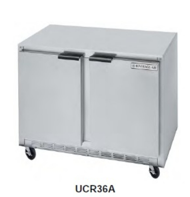 Beverage Air UCR36A Undercounter Refrigerated Cabinet w/ Self-Closing Doors, 8.5-cu ft, 2-Section