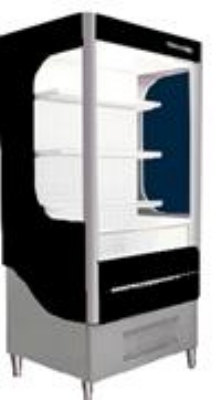 Beverage Air VM7-1-B Open Air Merchandiser w/ Glass Sides, Black, 7-cu ft