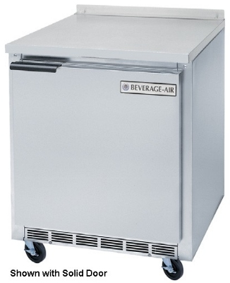 Beverage Air WTR27A-24-23 27-in Worktop Refrigerator, 1-Solid Left Hinged Door, 3-in Caster, 7.3-cu ft