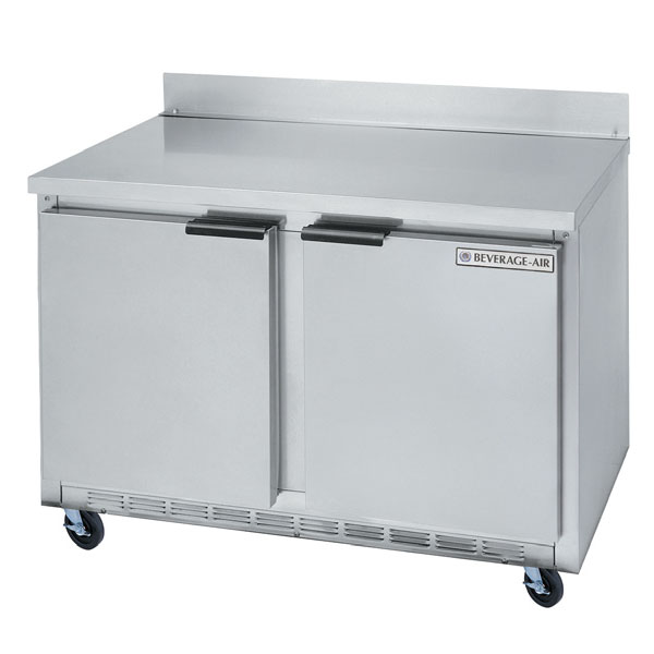 Beverage Air WTRF50A 50-in Dual Temp Refrigerator Freezer Worktop w/ 2-Door & 4-Shelf, Stainless