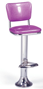 Vitro 1500921 Classic Fountain Stool, Upholstered Seat & Back, Chrome