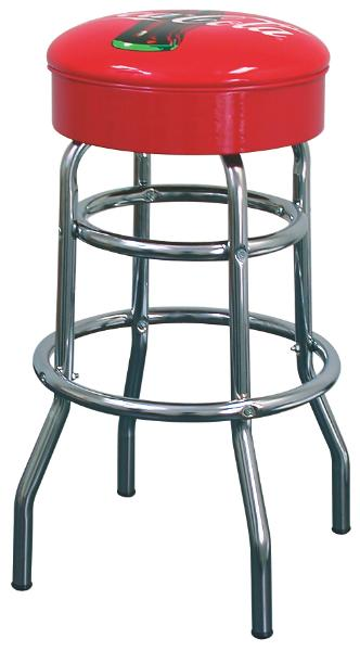 Vitro 215125CCB Bar Stool, Coke Red Disc Icon, 30 in Seat Height