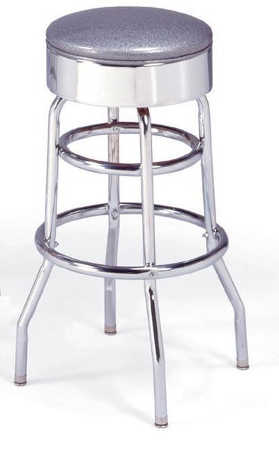 Vitro 21546 Bar Stool, Revolving Seat, Chrome, Double Foot Ring