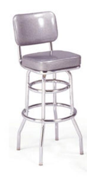 Vitro 215531 Bar Stool, Revolving Seat & Back, Chrome, Double Foot Ring