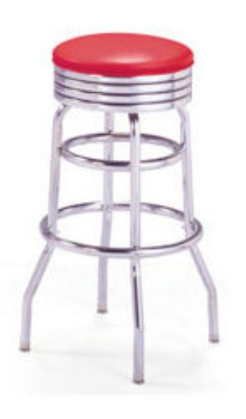 Vitro 215782 Bar Stool, Revolving Seat, Chrome, Double Foot Ring