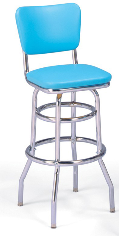 Vitro 215921 Bar Stool, Revolving Seat & Back, Chrome, Double Foot Ring