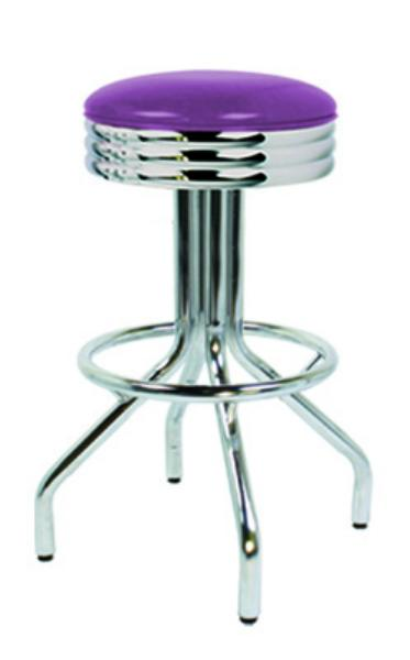Vitro 25049NS Bar Stool, Revolving Seat, Scalloped Ring, Chrome, Foot Ring