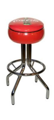 Vitro 250781CBB Coke Diner Stool, 30 in Height, Red Painted Seat Ring, Black Piping