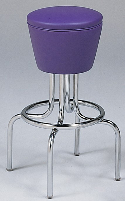 Vitro 264161 Bar Stool, Revolving Seat, Chrome, Single Foot Ring
