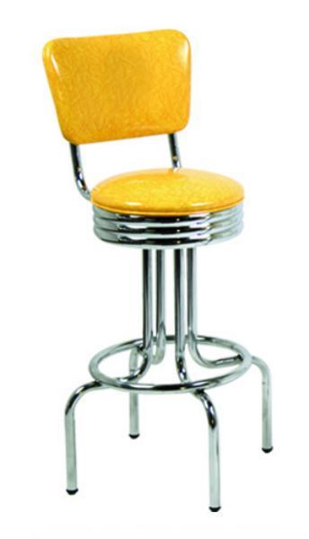 Vitro 26449NSRB Bar Stool, Revolving Seat & Back, Chrome, Single Foot Ring