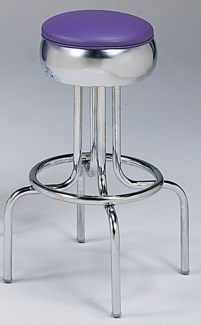 Vitro 264781 Bar Stool, Revolving Seat, Chrome, Single Foot Ring