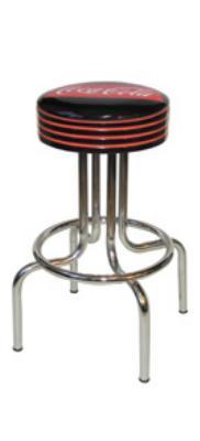 Vitro 264782FT Fishtail Coke Stool, Grooved Black Seat Ring w/ Red Stripes, Black, 24 in H