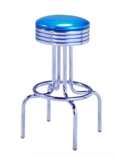 Vitro 264782 Bar Stool, Revolving Seat, Grooved Ring, Chrome, Single Foot Ring