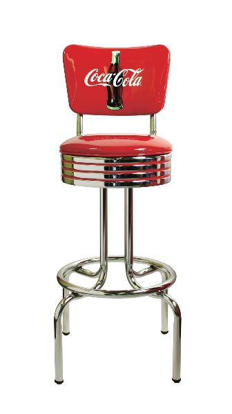 Vitro 264782RBCBB Bar Stool, Coke Red Disc Icon, Chrome Ring w/ Red Striping, 24 in H