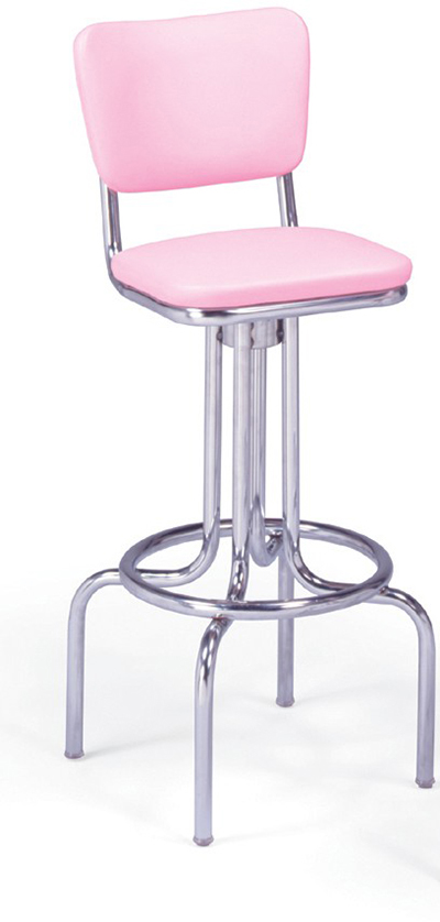 Vitro 264921 Bar Stool, Revolving Seat & Back, Chrome, Single Foot Ring